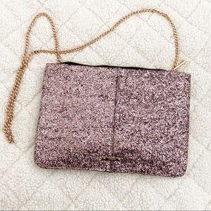 Pink Glitter Zip Top Clutch